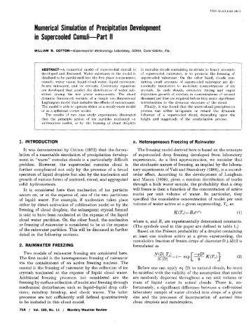 Numerical Simulation of Precipitation Development in Supercooled ...