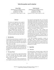 Table Recognition and Evaluation - Swarthmore College