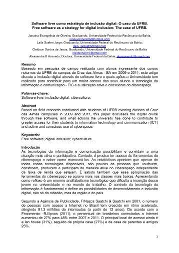 Software livre como estratégia de inclusão digital: O caso da UFRB ...