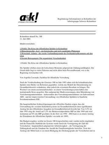 Kolumbien-aktuell No. 388 / 21. Juli 2004 - ask! Arbeitsgruppe ...