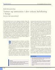 Tenner og tannstatus i den voksne befolkning i Norge - Den norske ...