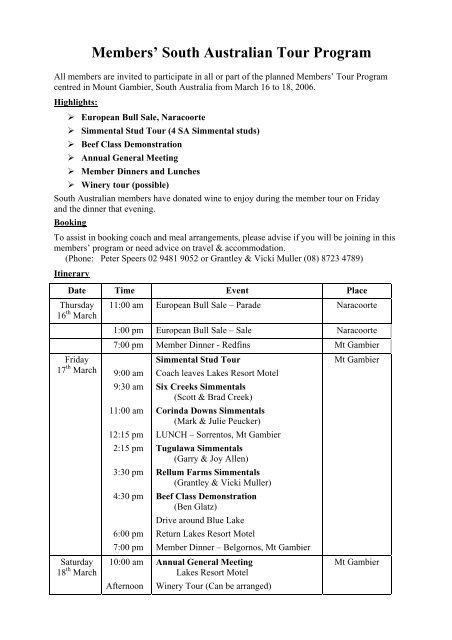 Members' South Australian Tour Program - Simmental Australia