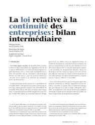 La loi relative à la continuité des entreprises: bilan ... - Juridat
