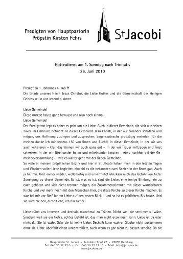 Predigt über 1.Johannes 4, 16b ff - St. Jacobi