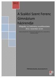 Házirend - Szalézi Szent Ferenc Gimnázium