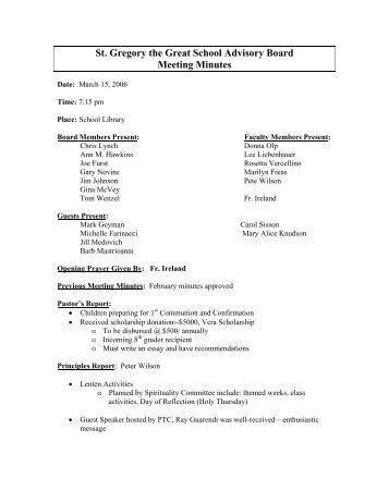 st gregory the great school advisory board meeting minutes outline