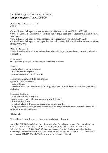 Lingua Inglese 2 AA 2008/09