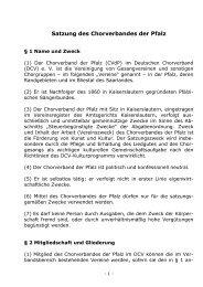 Satzung des Chorverbandes der Pfalz - Chorverband der Pfalz eV