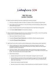SBA 504 Loan Lender Checklist - West Coast Chamber of Commerce