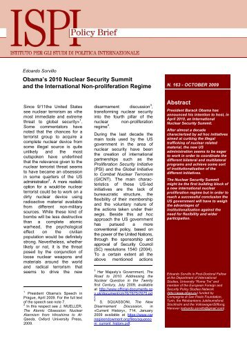 Obama's 2010 Nuclear Security Summit and the International - Ispi
