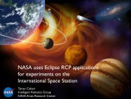 NASA uses Eclipse RCP applications for experiments on the ...