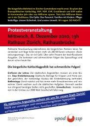 Protestveranstaltung Mittwoch, 8. Dezember 2010 ... - SP Stadt Zürich