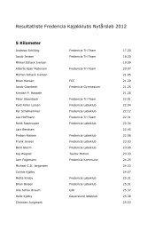 Resultater Nytårsløb 2012 - Fredericia Kajakklub