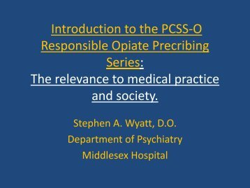 Introduction to the PCSS-O Pain and Addiction Series: the relevance ...