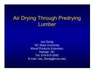 Air Drying Through Predrying Lumber - North Carolina State University