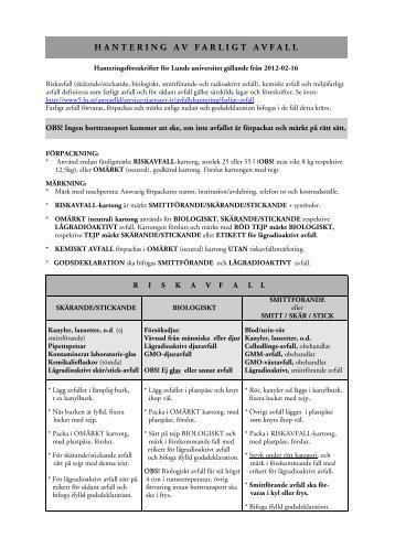 Hantering av farligt avfall vid Lunds universitet (PDF 55 kB - Nytt ...