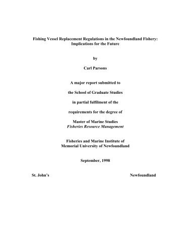 Fishing Vessel Replacement Regulations in the Newfoundland ...
