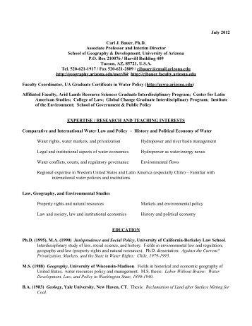 Carl J - School of Geography and Development - University of Arizona