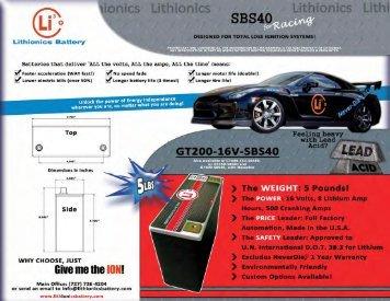 Lithionios Battery - Lithionics Battery