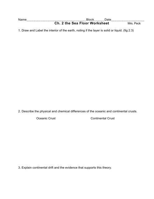Ch 2 The Sea Floor Worksheet