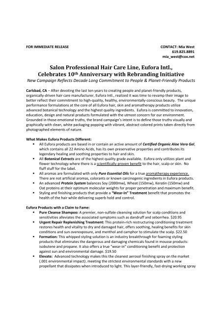 Salon Professional Hair Care Line, Eufora Intl., Celebrates 10th ...