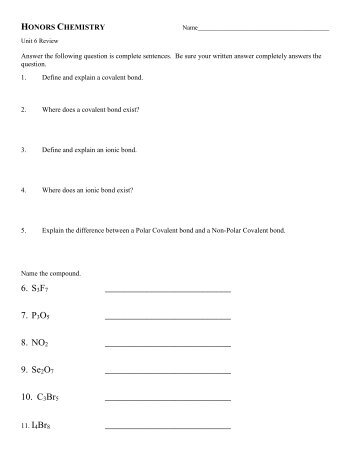 P.S. Chemistry Chapter 20 Review (Practice Test) Test Date