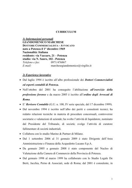 Componente Avv  Giandomenico Marchese-Curriculum
