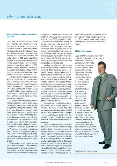 Vuosikertomus 2008 - Kehittämiskeskus Oy Häme