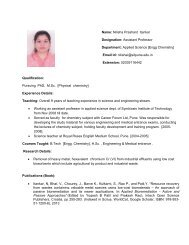 Name: Nilisha Prashant Itankar Designation: Assistant ... - SIT