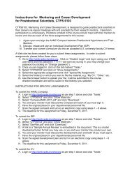 Instructions for Mentoring and Career Development for Postdoctoral ...