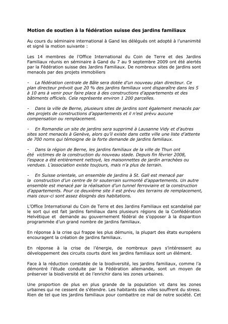 Motion de soutien à la fédération suisse des jardins familiaux