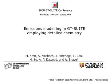 Emissions modelling in GT-SUITE employing detailed chemistry
