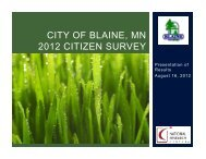 2012 Citizen Survey PowerPoint Presentation - Blaine, Minnesota