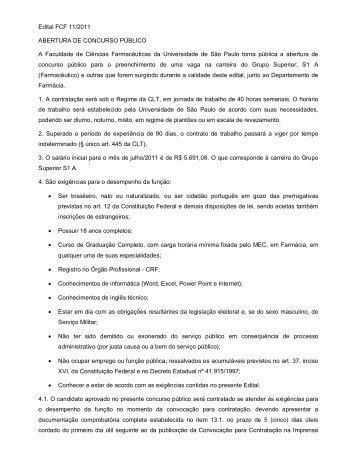Edital FCF 11/2011 ABERTURA DE CONCURSO PÚBLICO A ...
