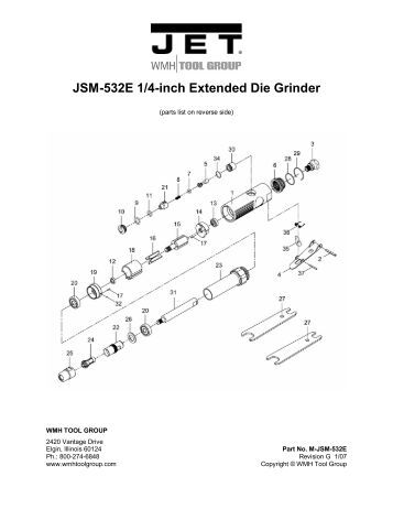 Parts List for JSM-705A, 3/8-inch Reversible Air Drill