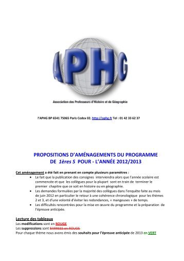 PROPOSITION D'AMENAGEMENT DU PROGRAMME DE 1ère S ...