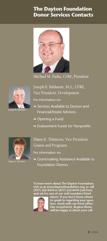 The Dayton Foundation Donor Services Contacts