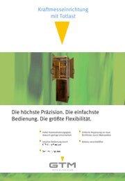 Kraftmesseinrichtung mit Totlastprinzip - GTM GmbH