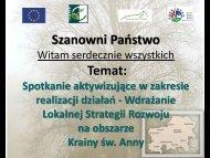 Małe Projekty - Stowarzyszenie Kraina św. Anny