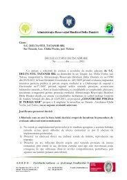 Către: S.C. DELTA STIL TATANIR SRL Sat Tatanir, Loc. Chilia ...