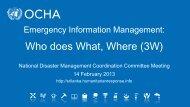 Presentation on 3 W data base - Disaster Management Center