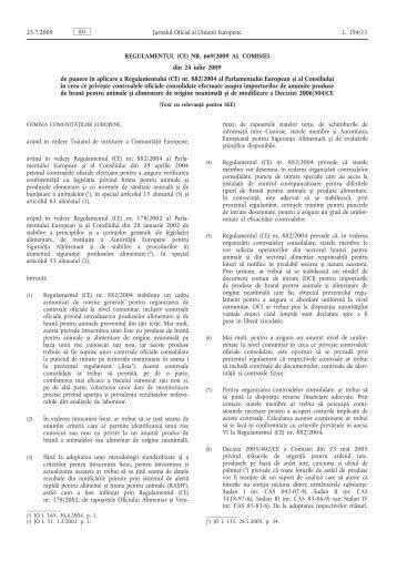 Regulamentul (CE) nr. 669/2009 al Comisiei din 24 iulie ... - EUR-Lex