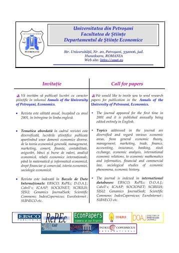 Invitaţie Call for papers Universitatea din Petroşani Facultatea de ...