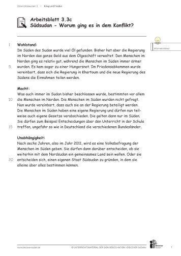 Arbeitsblatt 1.3b Sudan/Darfur: Der inszenierte ... - Discover Sudan