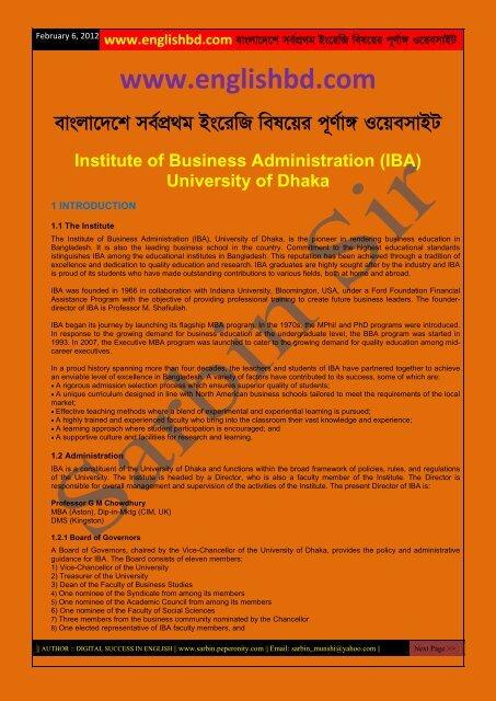 IBA Admission Brochure - englishbd com