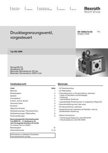 Druckbegrenzungsventil, vorgesteuert - Bosch Rexroth