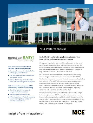 NICE Perform eXpress 2.1 Brochure - Sigma Wireless