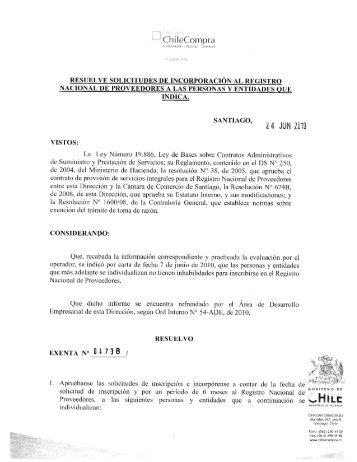 Resolución Proveedores Inscritos Mayo 2010 - Chileproveedores