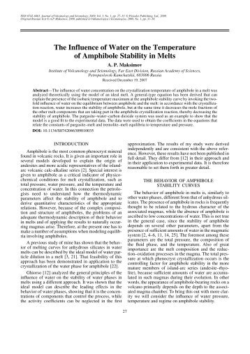 The Influence of Water on the Temperature of Amphibole Stability in ...
