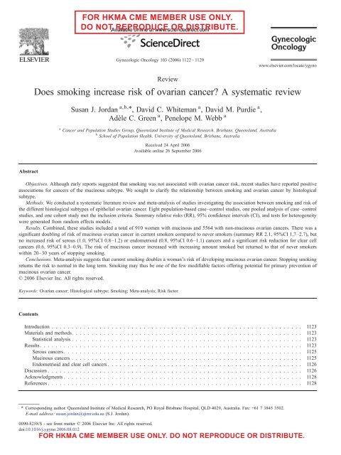 Does Smoking Increase Risk Of Ovarian Cancer A Hkmacme Org